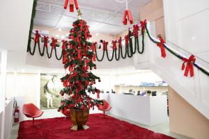 A área dedicada aos futuros treinamentos, hoje está enfeitada com uma grande Árvore de Natal